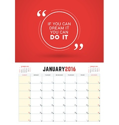 January 2016 Wall Calendar Planner for 2016 Year vector