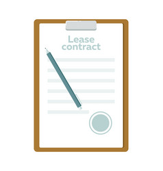 Lease contract with pen icon vector