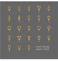 LED Light bulb base type icon set vector image