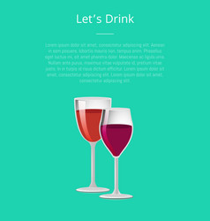 lets drink glass of wine poster two wineglasses vector image