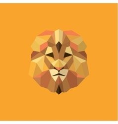 Lion golden orange mane low poly style of modern vector image