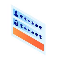 login password window icon isometric style vector image