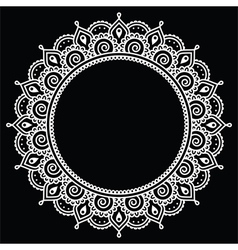 Mehndi Indian Henna tattoo round white pattern on vector