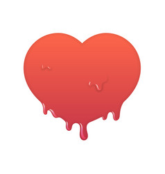 Melting red heart icon love symbol vector
