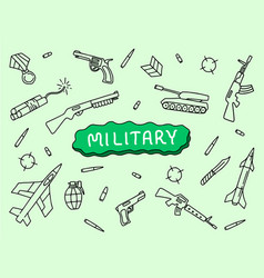 Military doodle art hand sketch with tank riffle vector