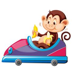 Monkey riding on toy car eating banana vector