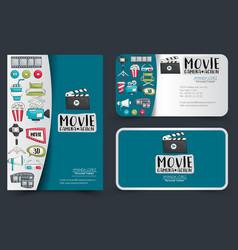 movie cinema corporate identity design set flyer vector image