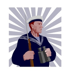 Navy Sailor Rifle Binoculars Retro vector image