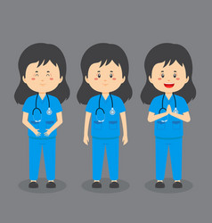Nurse character with various expression vector