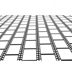 Perspective of empty filmstrips background vector