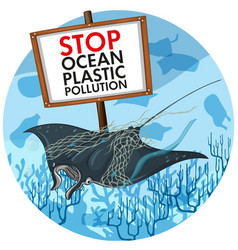 Poster design with stingray and plastic pollution vector