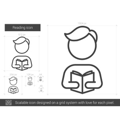 Reading line icon vector image