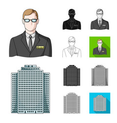 Realtor agency cartoonblackflatmonochrome vector