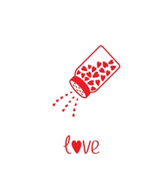 Salt shaker with hearts inside Card vector image