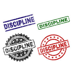 Scratched textured discipline stamp seals vector