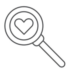 searching for love thin line icon amour and lens vector image