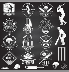 Set cricket club badges on chalkboard vector