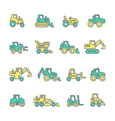 Set line icons of tractors vector image