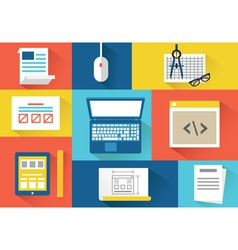 Set of equipment for programing Flat style design vector