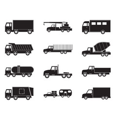 set truck black icons vector image