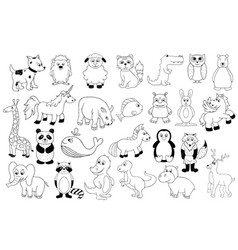 Set with baby animals outline cartoon vector