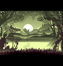 Silhouette unicorn in forest with moon and vector