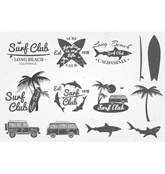 Surf club emblem retro badge and design elements vector image