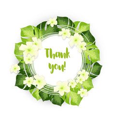 Thank you circle frame of green leaves with white vector