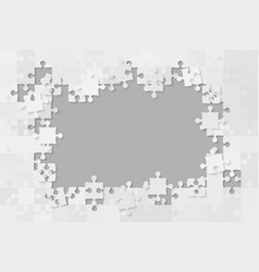 The grey background puzzle jigsaw of banner vector