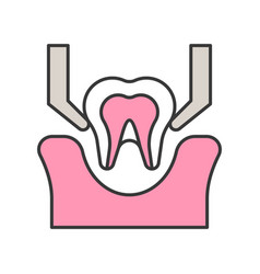 Tooth extraction sign dental related icon filled vector