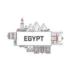travel egypt poster in linear style vector image