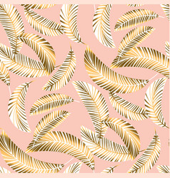 Tropical seamless pattern with palm foliage vector