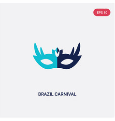 two color brazil carnival mask icon from culture vector image