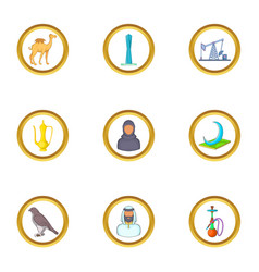 Uae symbols icons set cartoon style vector