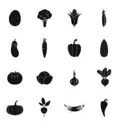 Vegetables icons set vector image