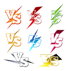 versus labels with colorful lighting vector image