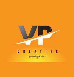 Vp v p letter modern logo design with yellow vector