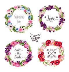 Wedding collection wreaths with hand-drawn flowers vector