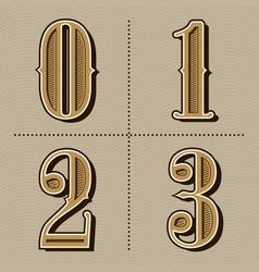 western alphabet letters vintage numbers design vector image