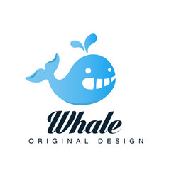 whale original designlogo template with blue vector image