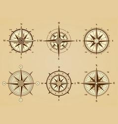 wind rose nautical marine travel symbols vector image