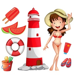 Woman in bikini and other beach things vector