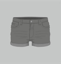 womens black denim shorts vector image