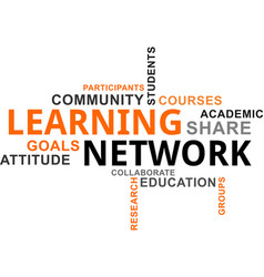 word cloud - learning network vector image