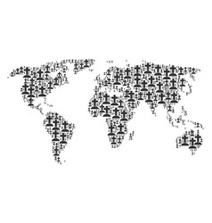 Worldwide atlas mosaic of cemetery icons vector