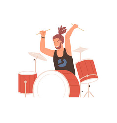 Young drummer playing drums with passion vector