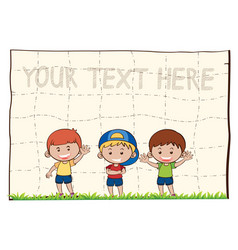 blank paper with three happy boys vector image vector image