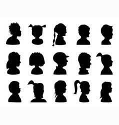 Children Profile Silhouettes vector image