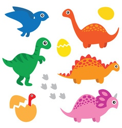Dinosaur set vector image vector image