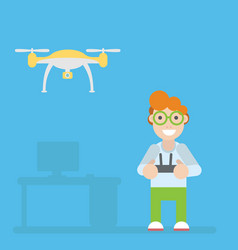 drone and guy with remote controls vector image vector image